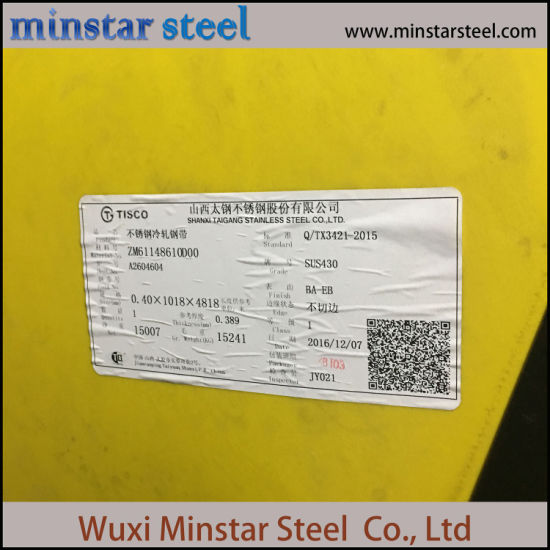 SUS 430 2B Finish Cold Rolled Martensitic Stainless Steel Sheet 2.9mm Thick